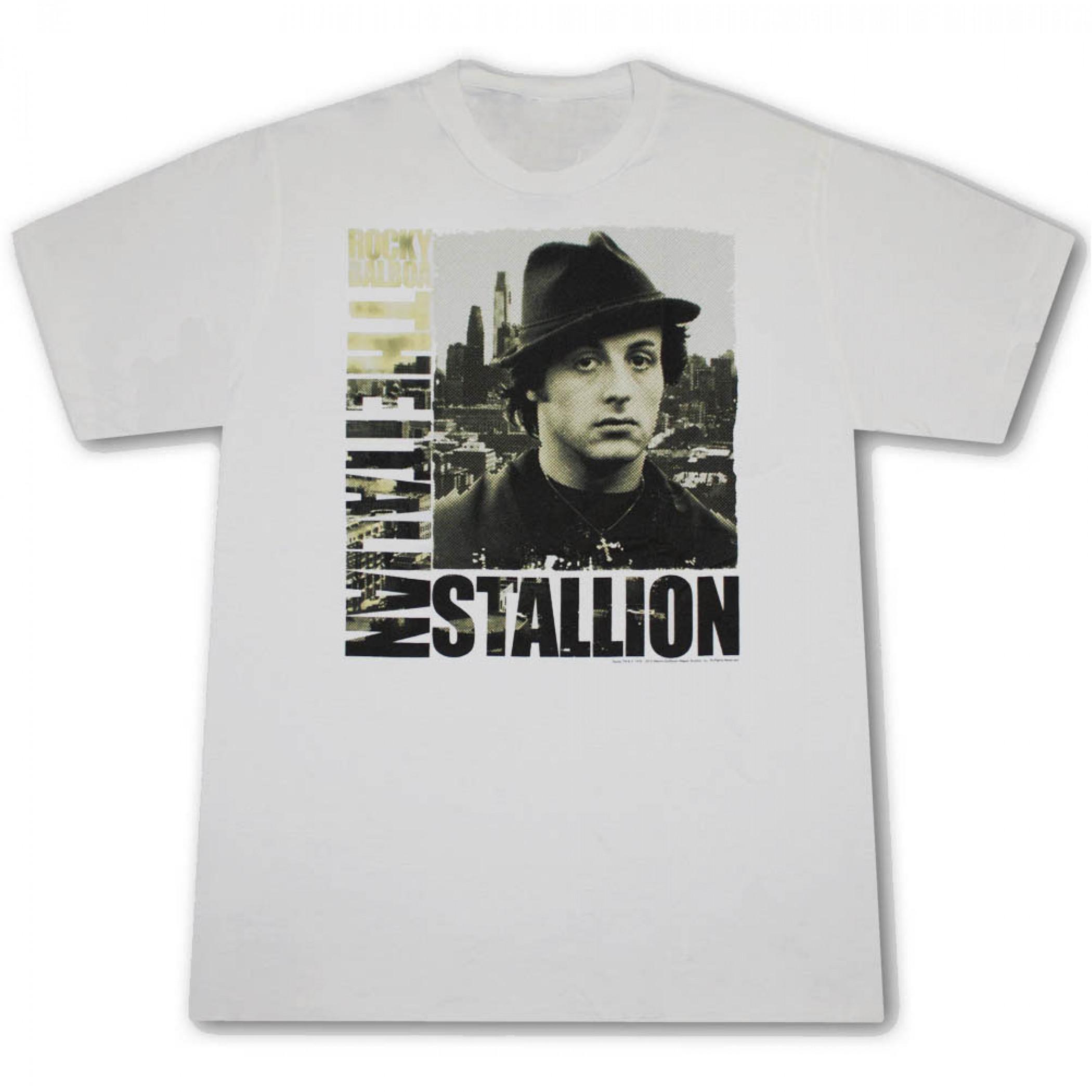 Rocky Balboa Italian Stallion City Grey Graphic Tee Shirt